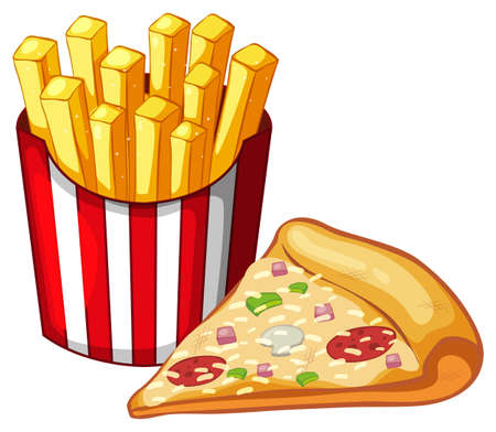image: Slice of pizza and bag of frenchfries illustration Illustration