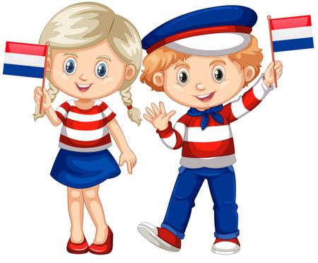 幸せな男の子と女の子イラスト オランダの旗を保持しています。  イラスト・ベクター素材