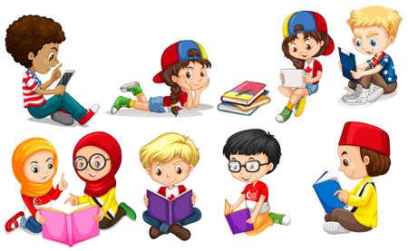 girl: Boys and girls reading books illustration