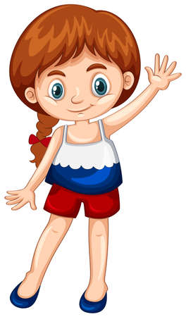 flag: Girl wearing shirt with Russia flag illustration