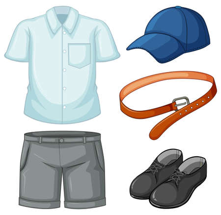 School uniform set on white background illustration Ilustracja