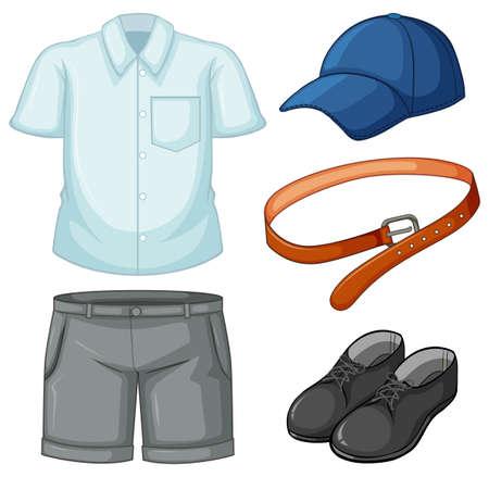School uniform set on white background illustration Illustration