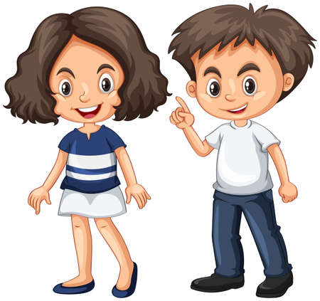Cute boy and girl with happy face illustration Illustration