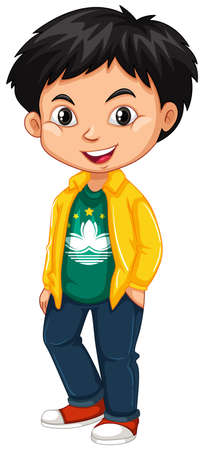 Boy wearing shirt with Macau flag  illustration