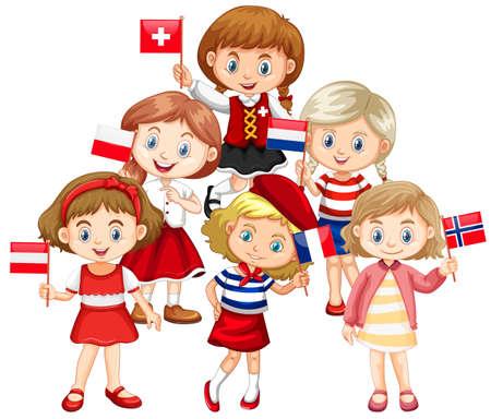Bambini che tengono le bandiere dall'illustrazione di diversi paesi Vettoriali