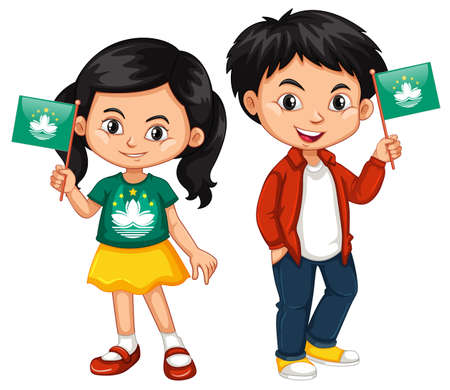 macau: Boy and girl holding Macau flag illustration