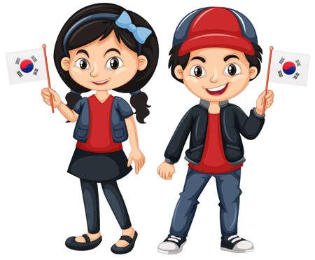 Niños con bandera de corea del sur ilustración Foto de archivo - 79459769