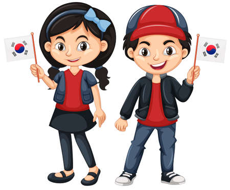 Children holding flag of South Korea illustration Illustration