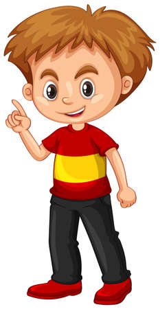 Little boy pointing his finger up illustration