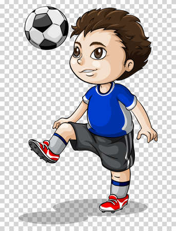sports equipment: Boy playing football on transparent background illustration