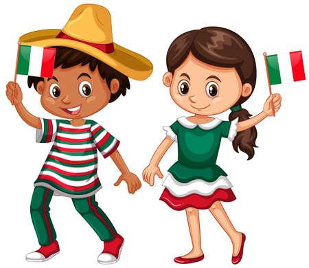 Heureux garçon et une fille tenant le drapeau de l'illustration du Mexique