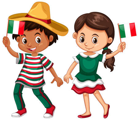 Happy boy and girl holding flag of Mexico illustration Illustration