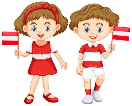 flag: Boy and girl with Austria flag illustration