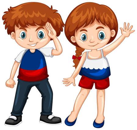 wave: Cute boy and girl waving hands illustration Illustration