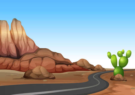 Nature scene with empty road in desert land illustration Illustration