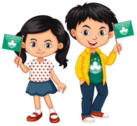 macau: Boy and girl holding flag of Macau illustration