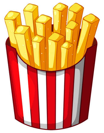 Frenchfries in paper container illustration