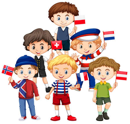 Boys holding flags from different countries illustration Illustration