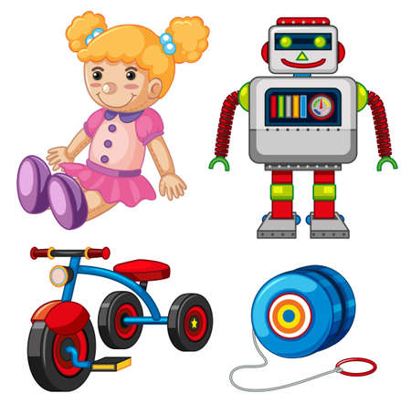 decoration: Doll and other toys on white background illustration