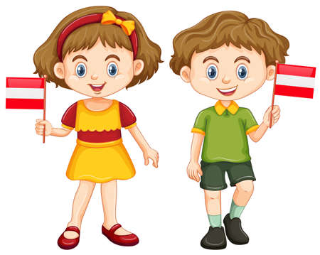 男の子と女の子のオーストリアの図のフラグを保持しています。  イラスト・ベクター素材