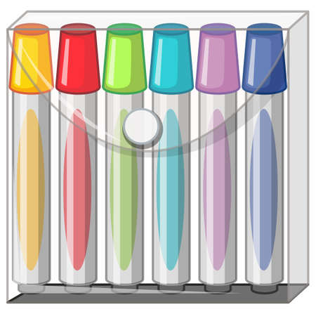 pen and marker: Color markers in plastic bag illustration