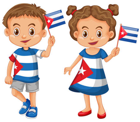 traditional culture: Happy boy and girl holding flag of Cuba illustration