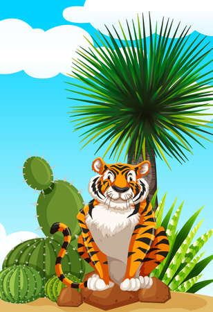 drawings image: Tiger sitting in cactus garden illustration