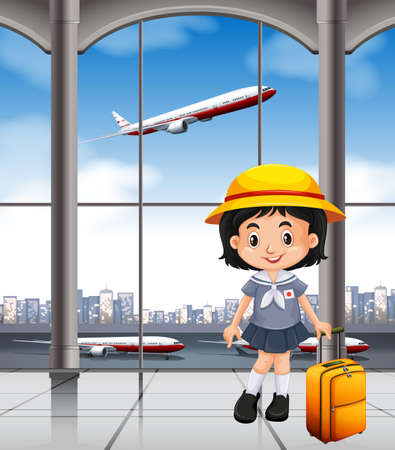 turista: Japanese girl at the airport terminal illustration