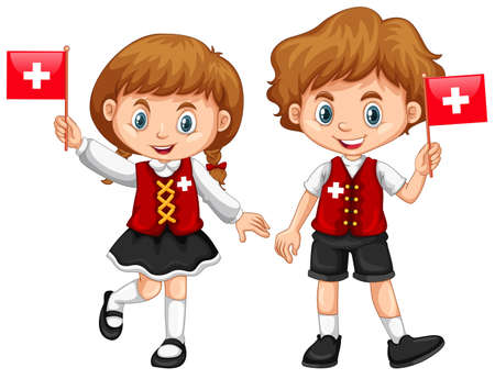 flag: Boy and girl with Switzerland flag illustration Illustration