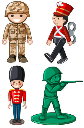 plastic soldier: Different designs of toy soldiers illustration