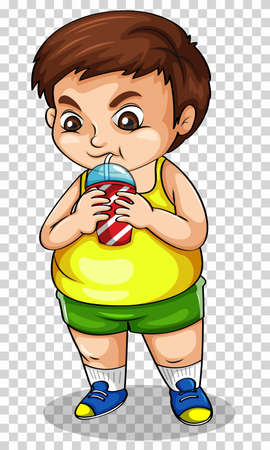 Fat boy drinking soda from cup illustration