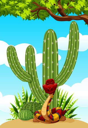 Cactus plant and snake on the ground illustration