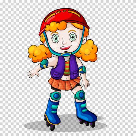 happy: Girl rollerskating on transparent background illustration Illustration