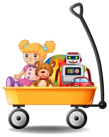 Toys in yellow wagon illustration