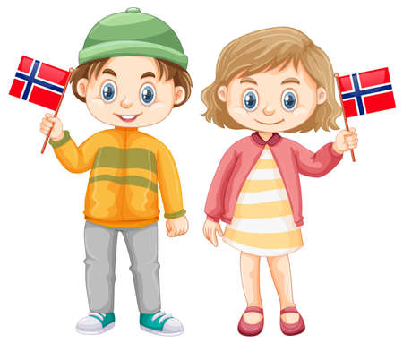 Boy and girl holding flag of Norway illustration
