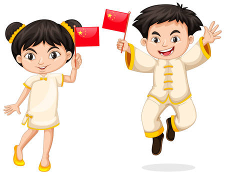 Happy boy and girl holding flag of China illustration Illustration