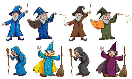 Witch and wizard with magic wand illustration Illustration