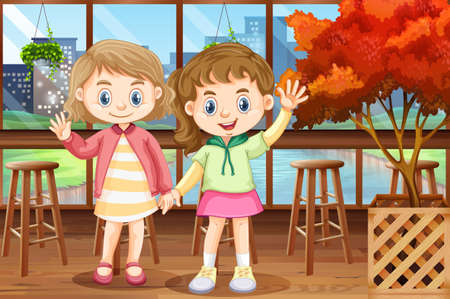 image: Two happy girls in restaurant illustration Illustration