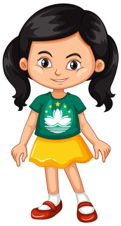 macau: Girl wearing shirt with Macau flag illustration Illustration