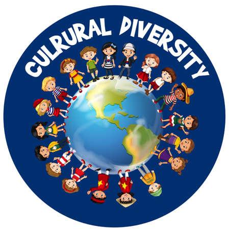 世界の図の周りの文化の多様性  イラスト・ベクター素材