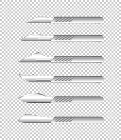 Diferentes tipos de cuchillos médicos sobre fondo transparente ilustración Ilustración de vector
