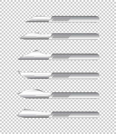 Different types of medical knives on transparent background illustration