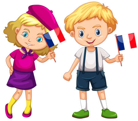 flag: Boy and girl holding flag of France illustration Illustration