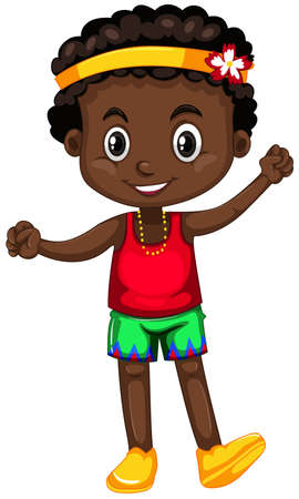 African american boy with happy face illustration