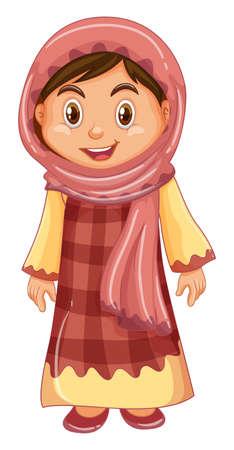 Irag girl in traditional costume illustration