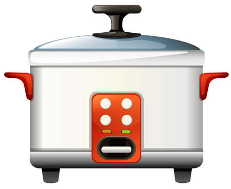 boiler: Rice cooker on white background illustration Illustration