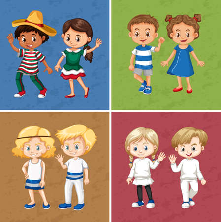wave: Boys and girls in four different color background illustration Illustration