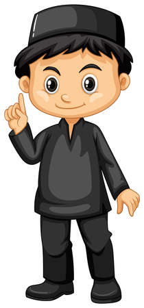 Indonesian boy in black outfit illustration