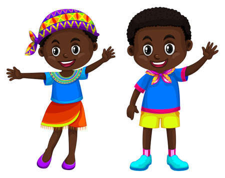 boy smiling: African boy and girl smiling illustration