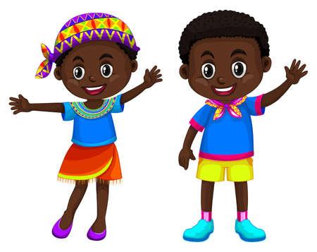 Illustration africaine de garçon et fille souriante Banque d'images - 80088948